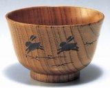 木製 汁椀 羽反型 うさぎ彫