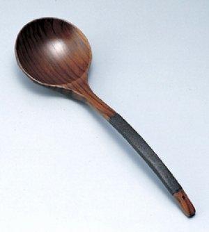 画像1: 木製 おたま 亀甲 布張 特大 拭漆