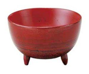 画像1: 木製 足付小鉢 刷毛目根来